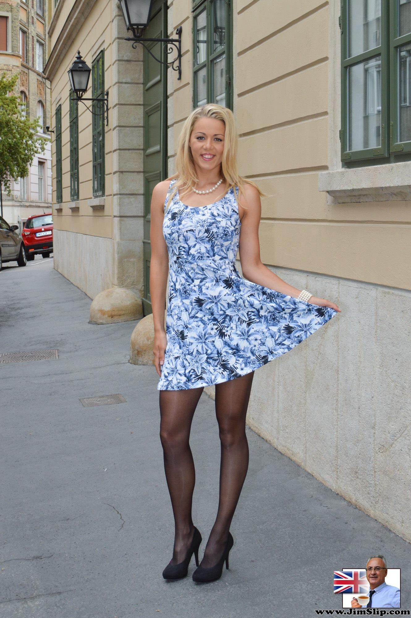 Beauty Christen in a dress with no panties on