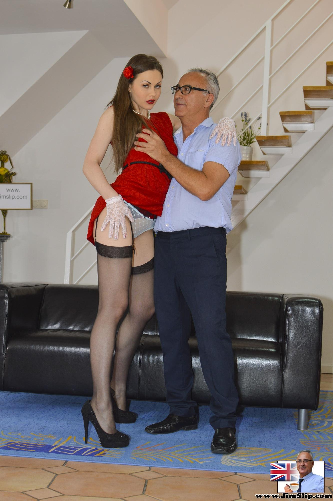Slut wearing stockings office