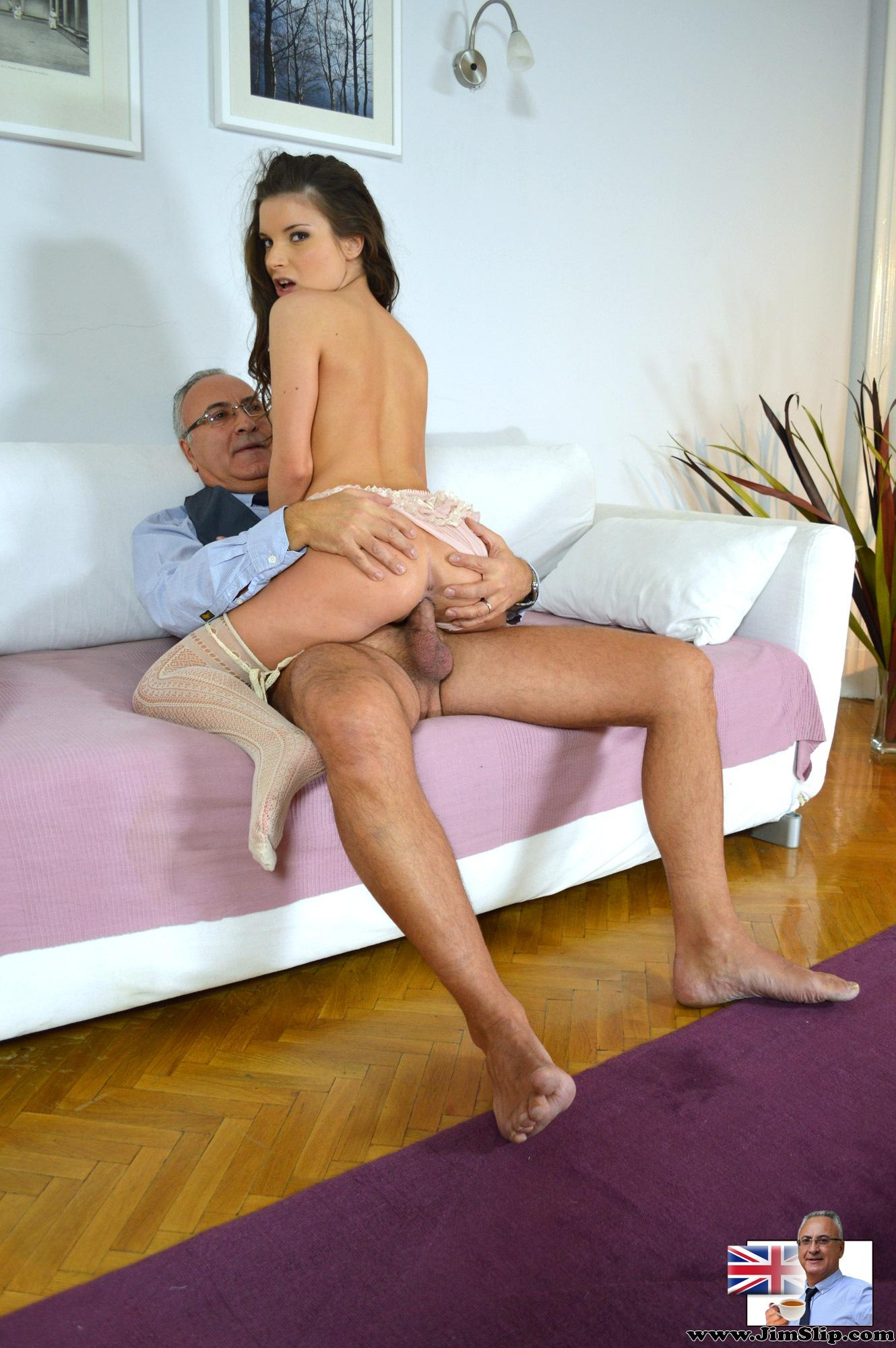 Young Anita pounding on old man Jims cock