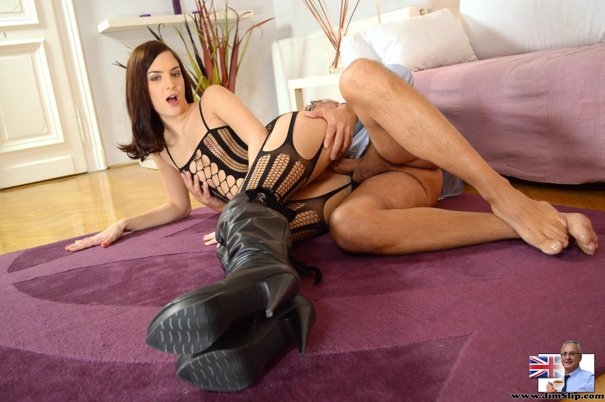 UK slut wearing Ripped Stockings is so horny